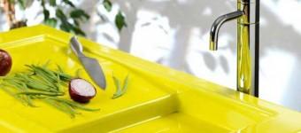Интересный вариант кухни в желтом цвете. Фото 21