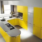 Угловая модульная кухня в желтом цвете. Фото 6