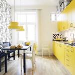 Сочетание желтого и черного цветов на кухне. Фото 13