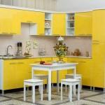 Сочетание желтого и черного цветов на кухне. Фото 14