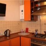 Проект оранжевой кухни угловой
