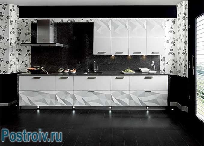 Дизайн кухни в черно белом цвете Более 20 фото оформления современной кухни