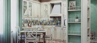 Кухня в стиле прованс в двухкомнатной квартире. Фото
