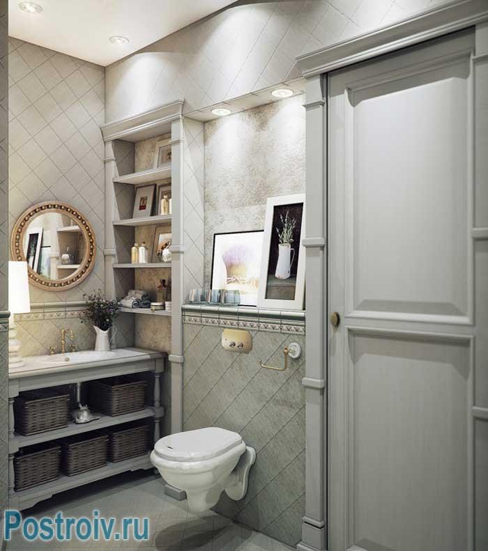 Стиль прованс в ванной в двухкомнатной квартире. Фото