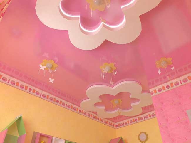 Натяжной потолок в дизайне комнаты для девочки