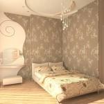 Светлые обои в оформлении спальни - Комбинация 6 фото