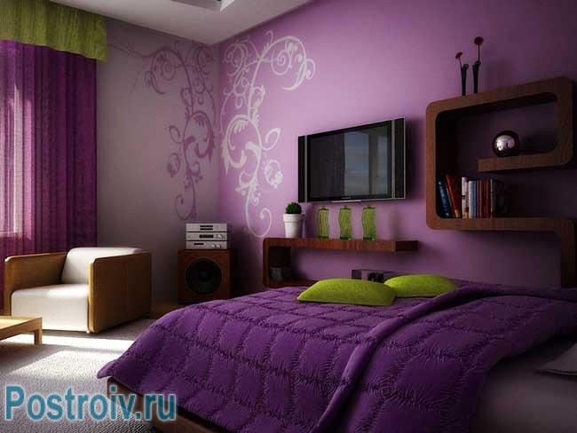 Сочетание обоев в спальне фото