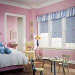 Голубой цвет в дизайне штор для девочки