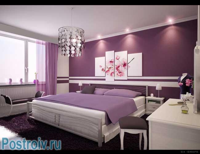 Сливовая спальня в современном стиле дизайн интерьера