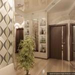 Светлый потолок в дизайне коридора. Фото