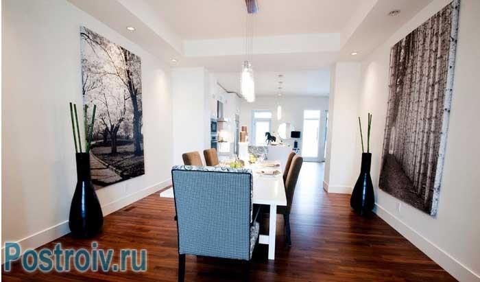 Столовая с белыми стенами. Дизайн проект