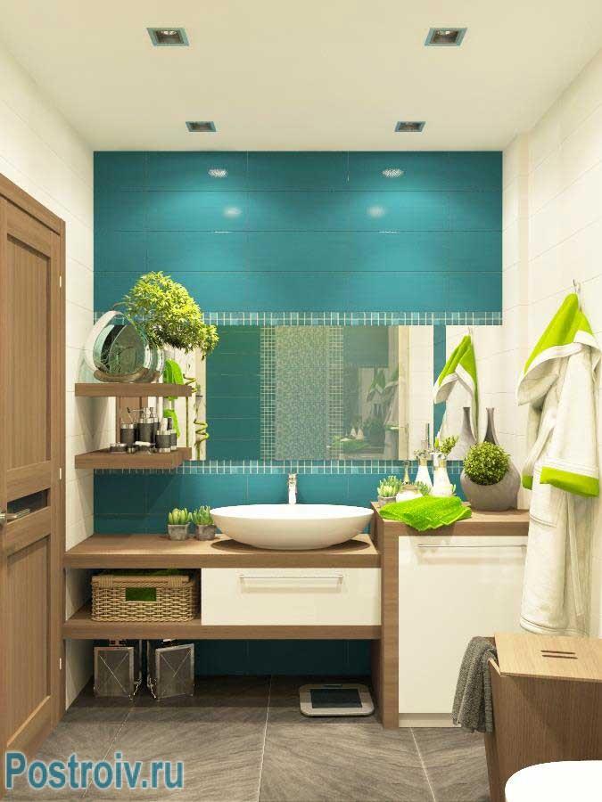 Дизайн маленькой ванной в стиле конструктивизм 5 кв. м.