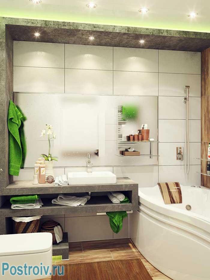 Дизайн ванной с угловой ванной в экостиле