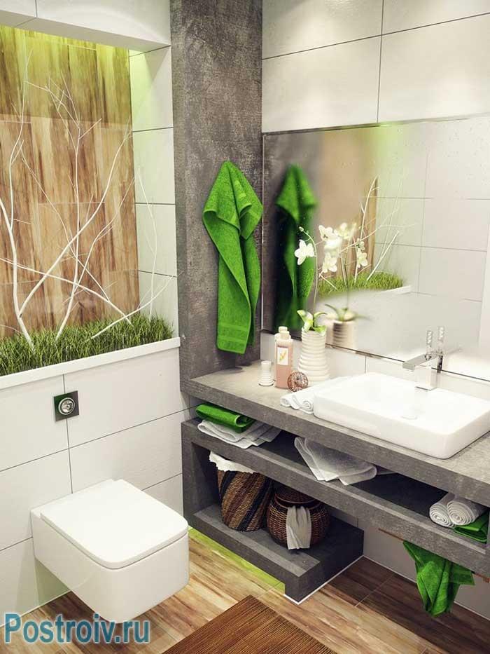 Подвесной унитаз в дизайне совмещенного туалета