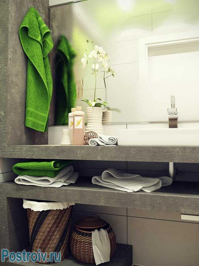 Столешница из камня в дизайне маленькой ванной 4, 5 кв. м.