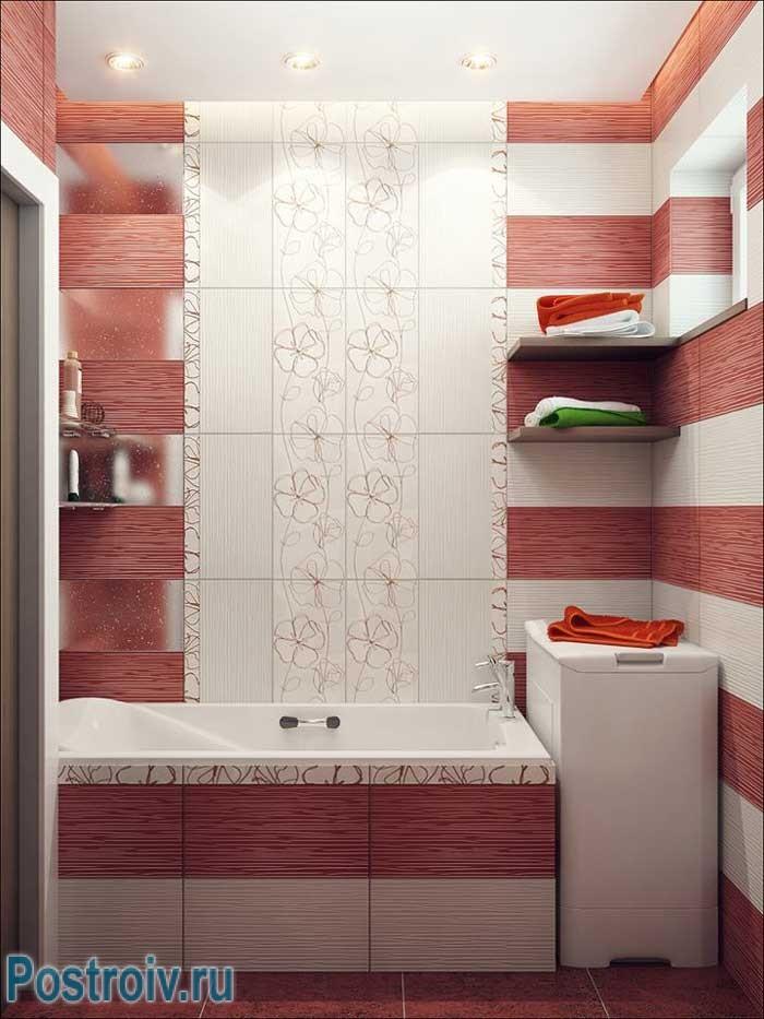 Дизайн маленькой совмещенной ванной со стиральной машинкой