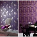 Фиолетовые обои с рисунком цветов. Фото