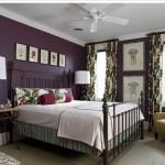 Фиолетовый цвет в интерьере спальни. Фото