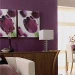 Фиолетовый цвет в гостиной. Фото
