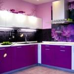 Фиолетовый цвет в интерьере кухни. Фото