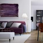Оттенки фиолетового в интерьере гостиной