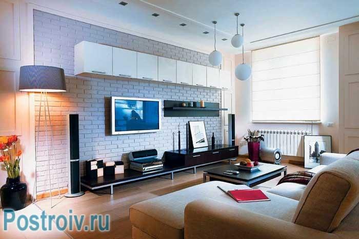 Как расставить мебель в зале, вариант для просмотра ТВ