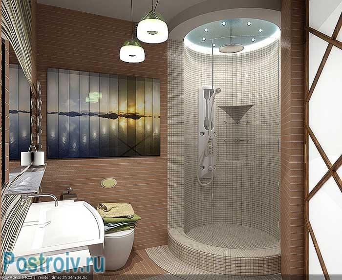 Как выбрать душевую: встроенная кабина в стену в ванной. Отделана мозаикой