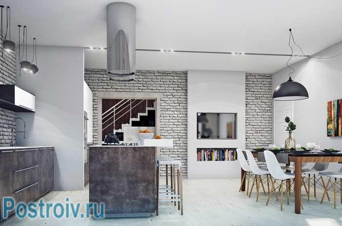 Кухня в современном стиле лофт. Остров на кухне. Фото