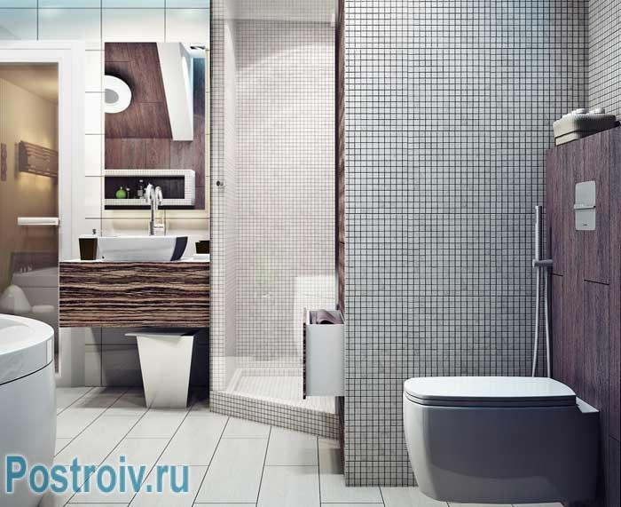 Элементы стиля лофт в ванной комнате. Белый кафельный пол