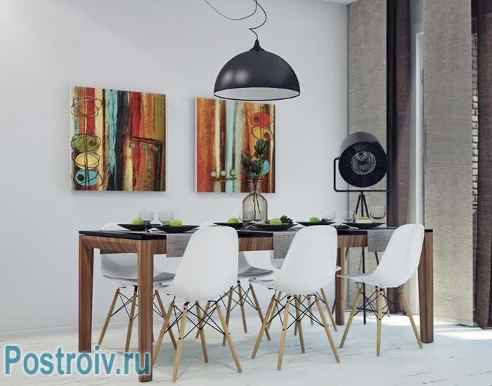 Картины на кухне. Обеденная зона в стиле минимализм