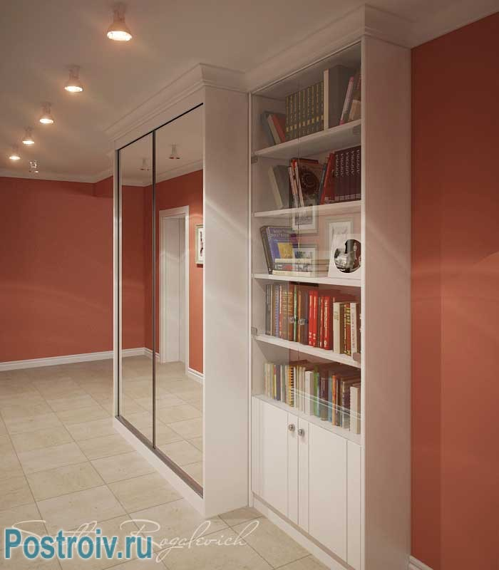 Зеркальный шкаф купе в дизайне коридора. Фото