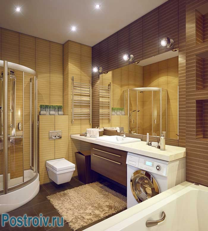 Дизайн ванной комнаты с ванной и душевой кабиной. Фото