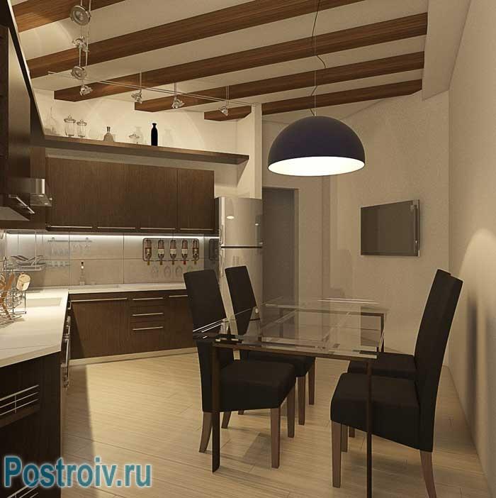 Проект дизайна 2-комнатной квартиры. Фото кухни