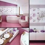 Дизайн розовой ванной комнаты с угловой ванной. Фото