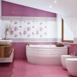 Угловая акриловая ванна. Розовый пол в ванной