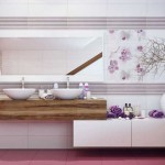 Комбинированный рисунок на стенах в ванной