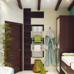 Красивый дизайн угловой ванной комнаты. Фото