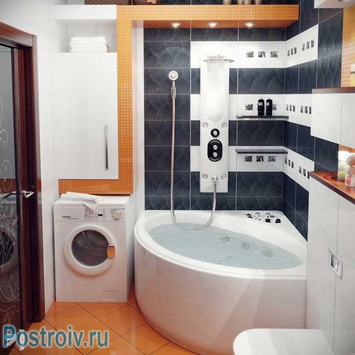 Ванная комната с угловой ванной дизайн 4 кв