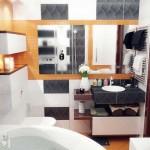 Черный и оранжевый цвет в интерьере ванной комнаты