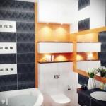 Точечные светильники в ванной комнате. Фото