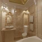 Дизайн бежевой ванной комнаты в классическом стиле
