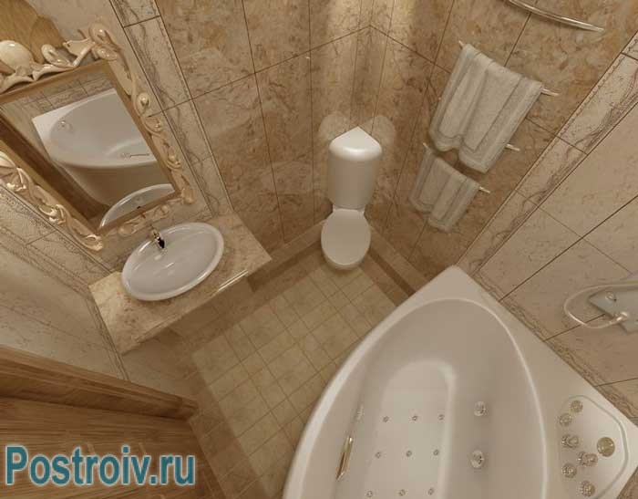 Дизайн ванной с угловой ванной и унитазом