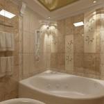 Маленькая ванная комната с угловой ванной. Фото