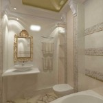 Зеркало в классическом стиле в ванной комнате. Фото