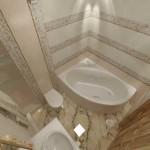 Дизайн светлой ванной комнаты с угловой ванной. Фото
