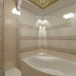 Санузел с угловой ванной. Фото