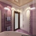 Угловая ванная комната с прозрачной дверью. Фото