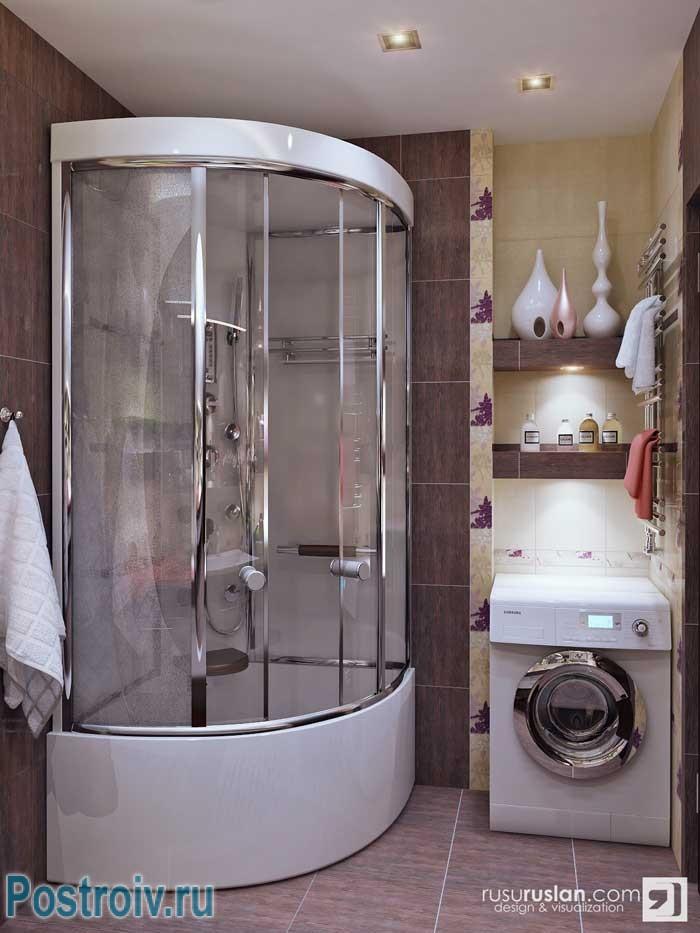 Цельная душевая кабины для ванной комнаты. Фото