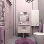 Дизайн ванной комнаты серо-розового цвета