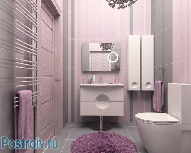 Серо розовая ванная комната дизайн